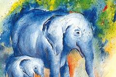 Blaue Elefanten im Tierpark