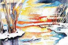 Winterl. Sonnenuntergang, Schmutter (Neusäß)