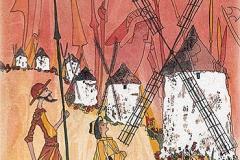 Spanien / La Mancha / Don Quijote, Sancho Panza und die Windmühlen