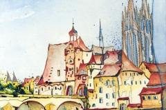 Deutschland / Regensburg / Altstadt mit Brücke
